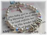 Baby Girl Personalized Baptism Bracelet