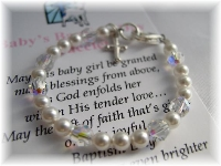 Baby Baptism Bracelet with Swarovski Crystals and pearls