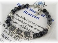 Personalized baby boy baptism bracelet baby name bracelet