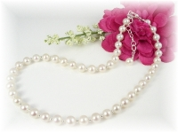 Baby Baptism Christening Necklace White Freshwater Pearl