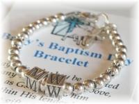 Personalized baby baptism bracelet sterling silver