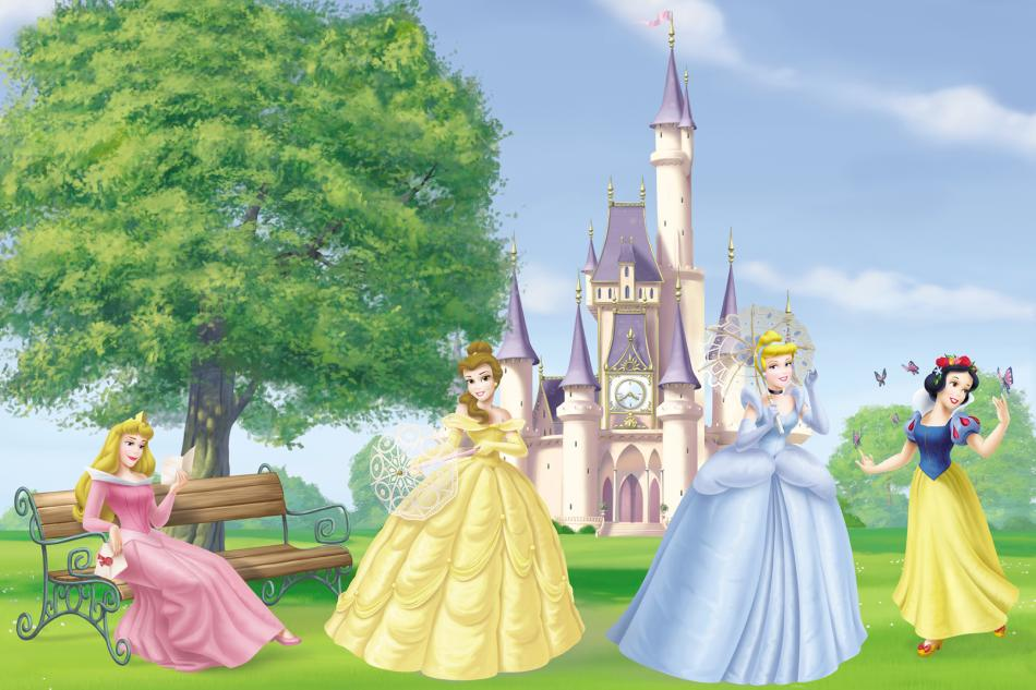 Disney princess outside scenic wall wallpaper mural for Cinderella castle mural