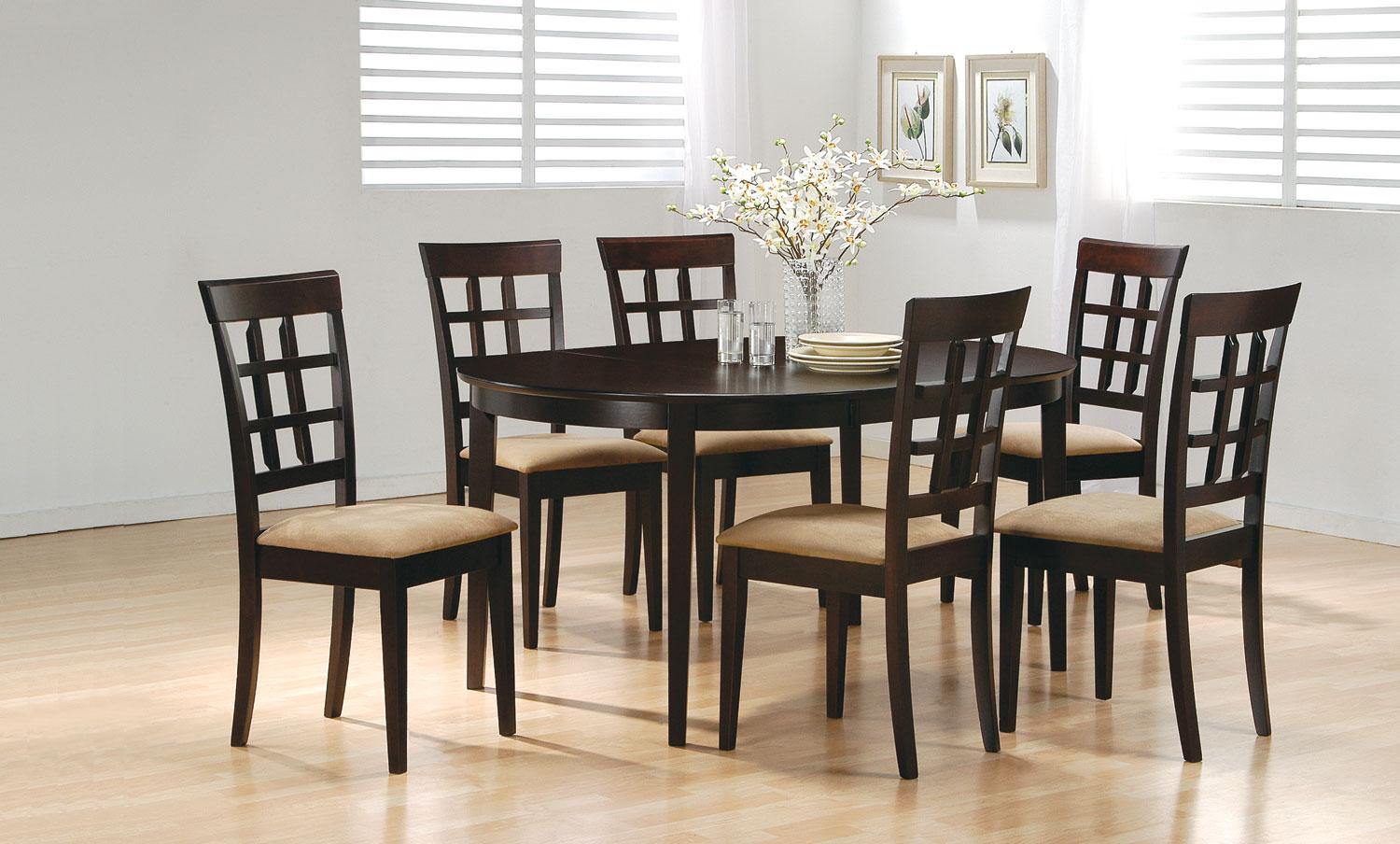 7 Pc Cappuccino Oval Dining Set with Leaf