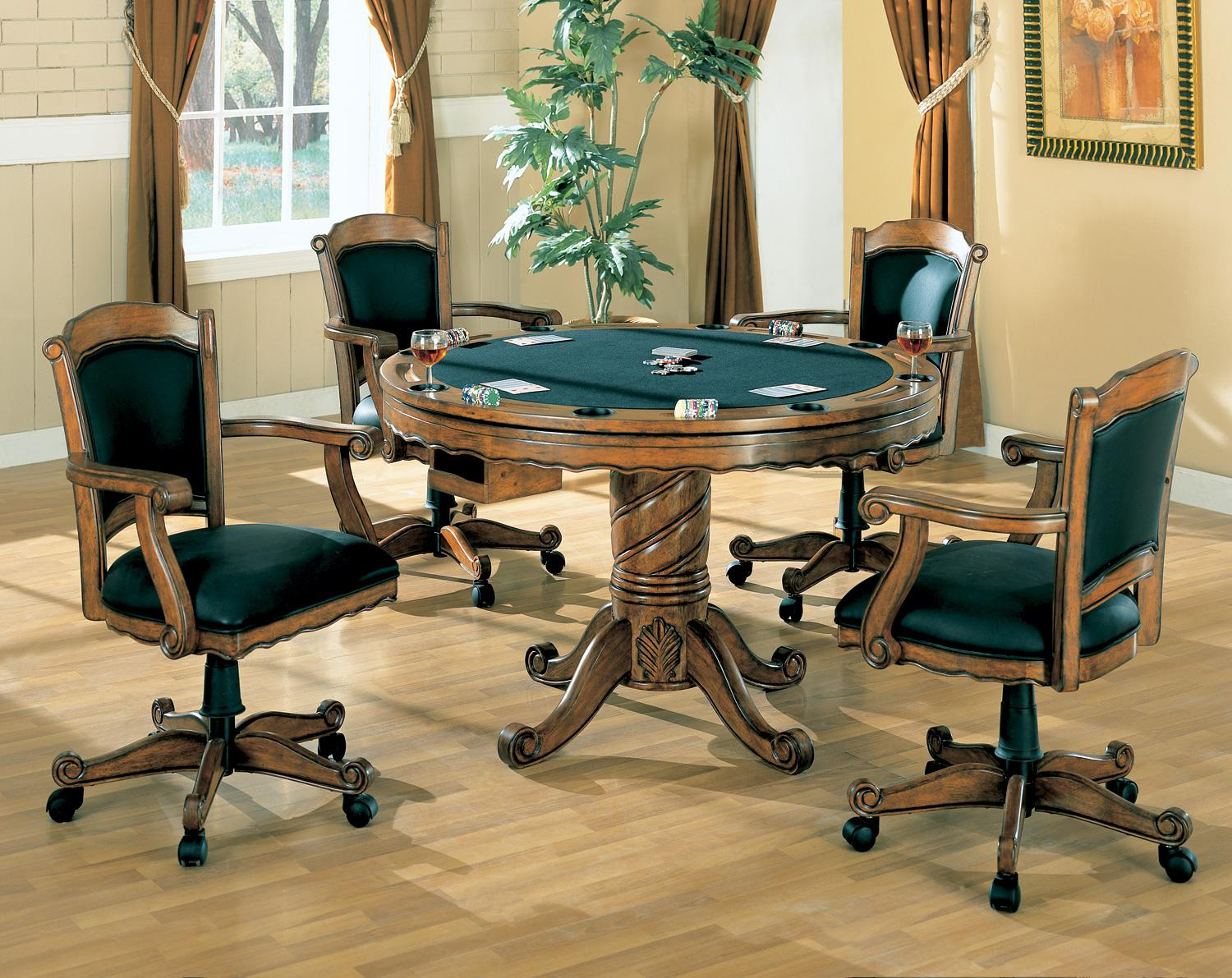 Game Table And Chairs Set Turk 5 Pc 3 In 1 Round Pedestal Game Table Set