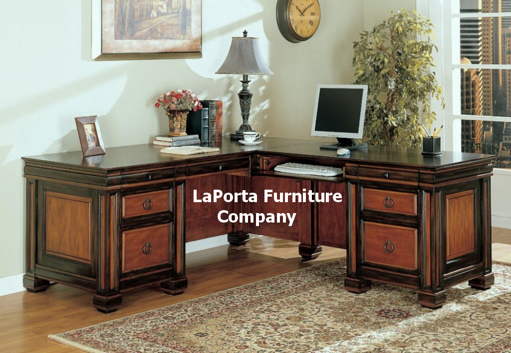 Dark Two Tone L Shaped Office Desk
